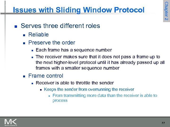 n Chapter 2 Issues with Sliding Window Protocol Serves three different roles n n