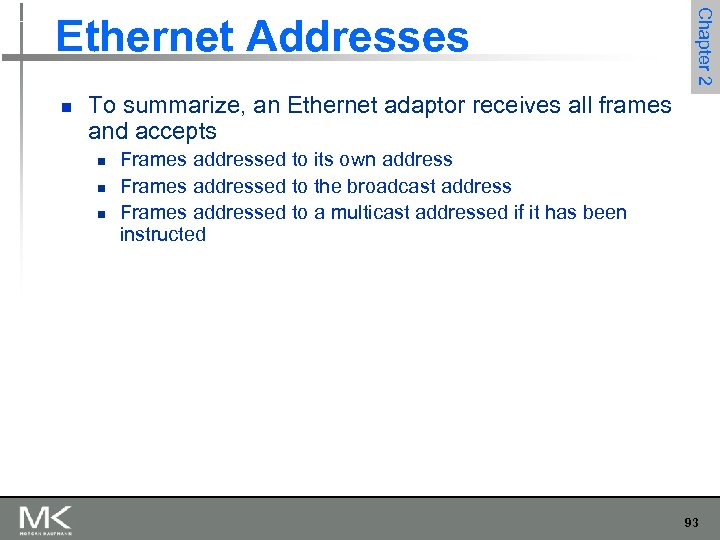 n Chapter 2 Ethernet Addresses To summarize, an Ethernet adaptor receives all frames and