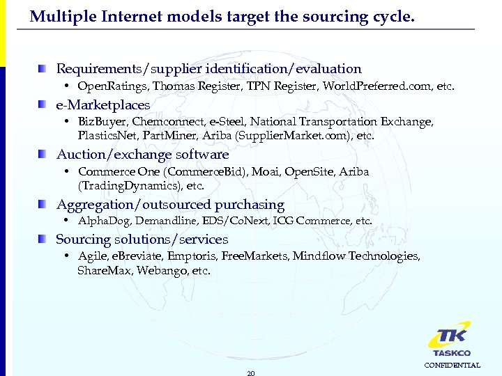 Multiple Internet models target the sourcing cycle. Requirements/supplier identification/evaluation • Open. Ratings, Thomas Register,