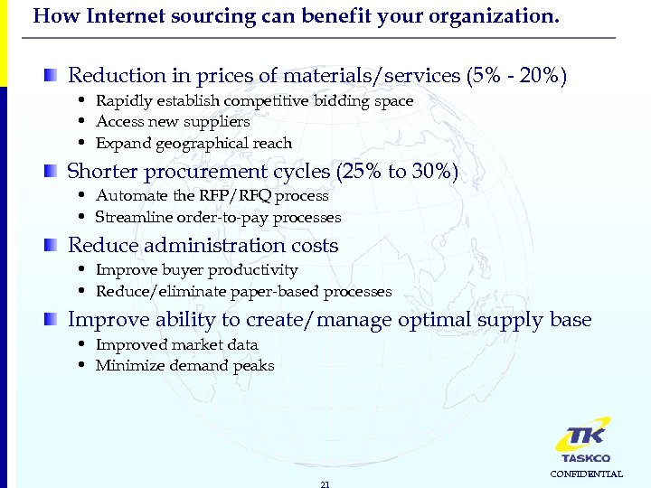 How Internet sourcing can benefit your organization. Reduction in prices of materials/services (5% -