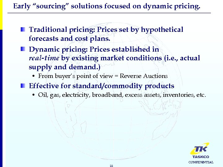 "Early ""sourcing"" solutions focused on dynamic pricing. Traditional pricing: Prices set by hypothetical forecasts"