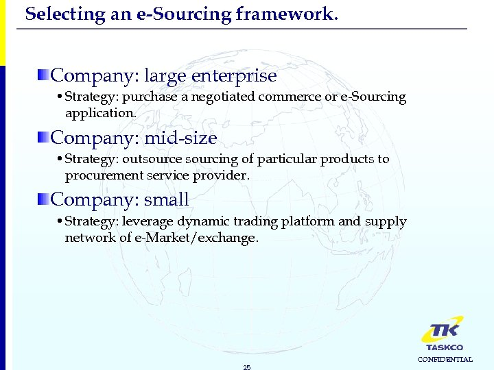 Selecting an e-Sourcing framework. Company: large enterprise • Strategy: purchase a negotiated commerce or