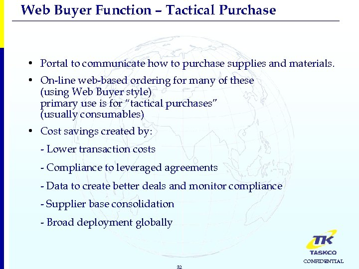Web Buyer Function – Tactical Purchase • Portal to communicate how to purchase supplies