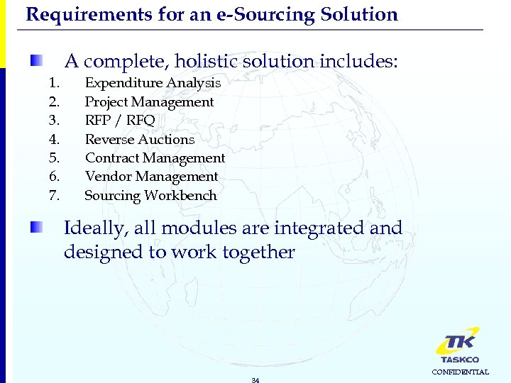 Requirements for an e-Sourcing Solution A complete, holistic solution includes: 1. 2. 3. 4.