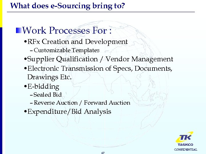 What does e-Sourcing bring to? Work Processes For : • RFx Creation and Development