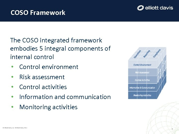 COSO Framework The COSO integrated framework embodies 5 integral components of internal control •