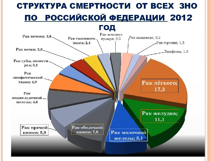 СТРУКТУРА СМЕРТНОСТИ ОТ ВСЕХ ЗНО ПО РОССИЙСКОЙ ФЕДЕРАЦИИ 2012 ГОД