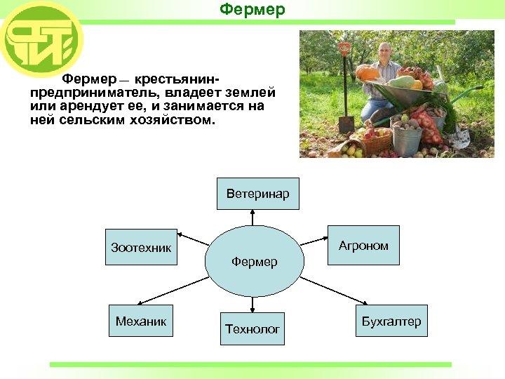 Фермер Пальчик А. П. Фермер — крестьянинпредприниматель, владеет землей или арендует ее, и занимается
