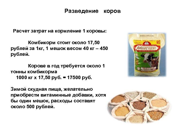 Разведение коров Расчет затрат на кормление 1 коровы: Комбикорм стоит около 17, 50 рублей