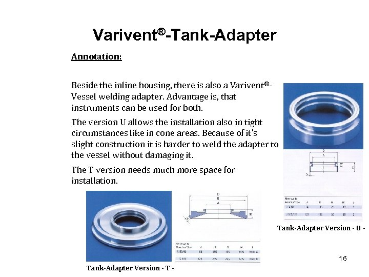 Varivent®-Tank-Adapter Annotation: Beside the inline housing, there is also a Varivent®Vessel welding adapter. Advantage