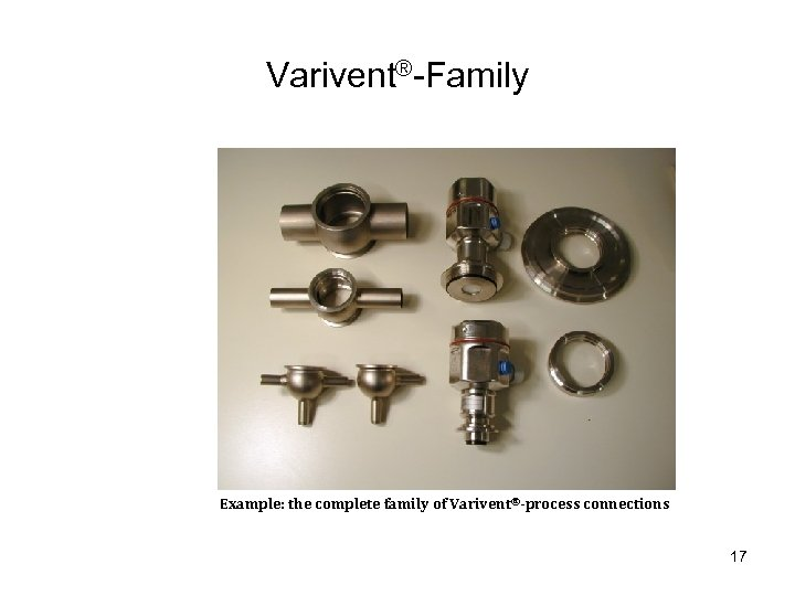 Varivent®-Family Example: the complete family of Varivent®-process connections 17