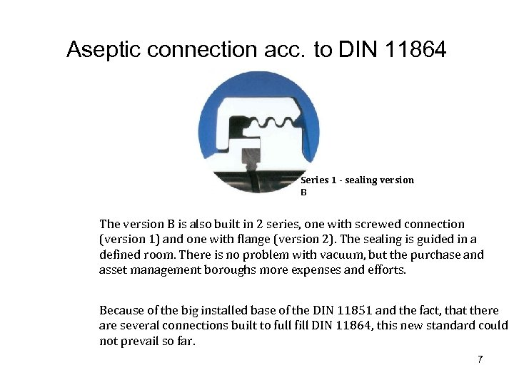 Aseptic connection acc. to DIN 11864 Series 1 - sealing version B The version