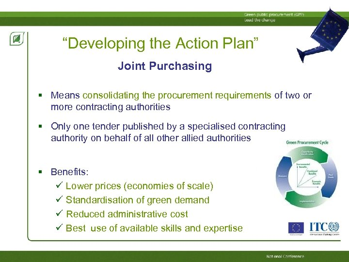 """""""Developing the Action Plan"""" Joint Purchasing Means consolidating the procurement requirements of two or"""
