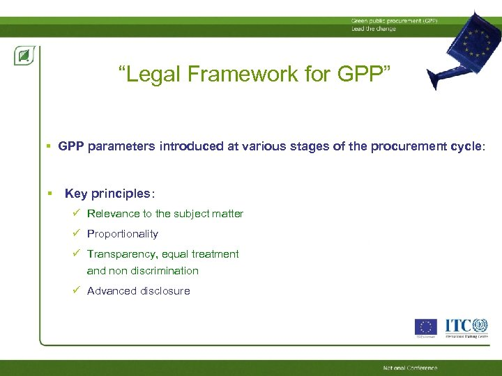 """""""Legal Framework for GPP"""" GPP parameters introduced at various stages of the procurement cycle:"""