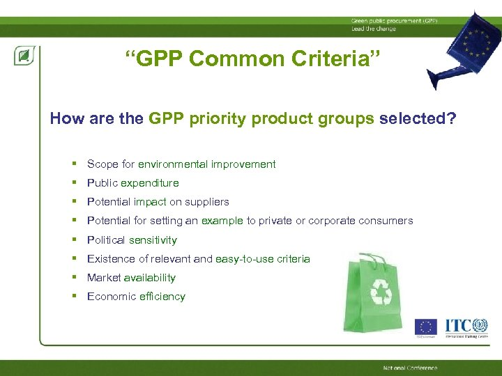 """""""GPP Common Criteria"""" How are the GPP priority product groups selected? Scope for environmental"""