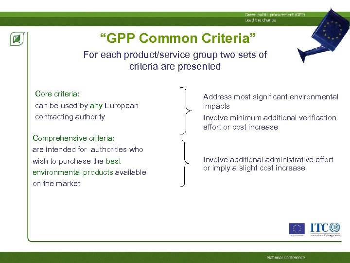 """""""GPP Common Criteria"""" For each product/service group two sets of criteria are presented Core"""