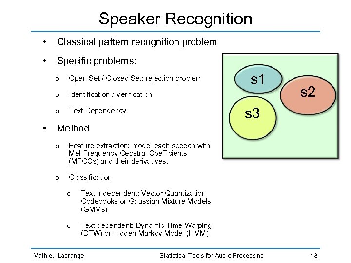 Speaker Recognition • Classical pattern recognition problem • Specific problems: o o Text Dependency