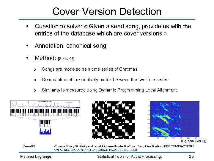 Cover Version Detection • Question to solve: « Given a seed song, provide us