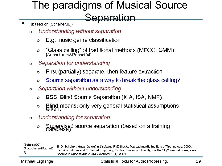 • The paradigms of Musical Source Separation (based on [Scheirer 00]) Understanding without