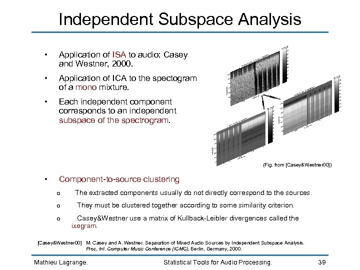 Independent Subspace Analysis • Application of ISA to audio: Casey and Westner, 2000. •