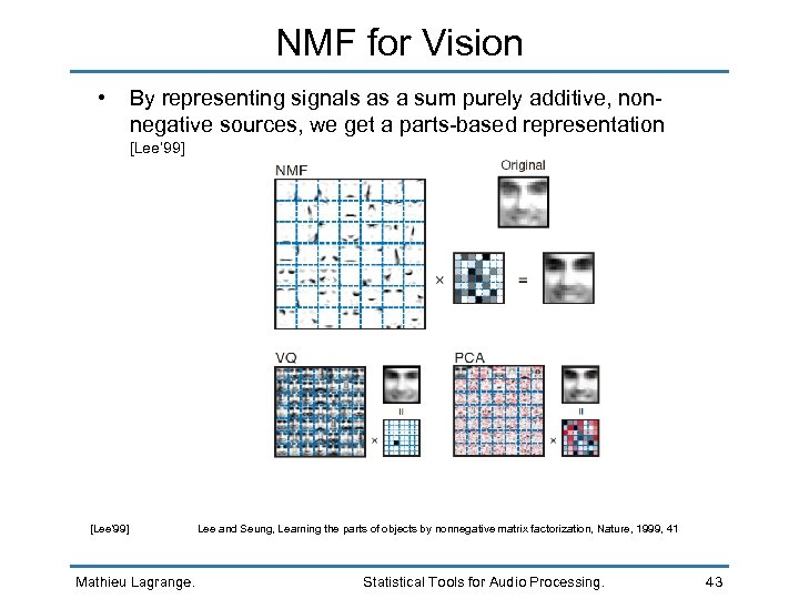 NMF for Vision • By representing signals as a sum purely additive, non- negative