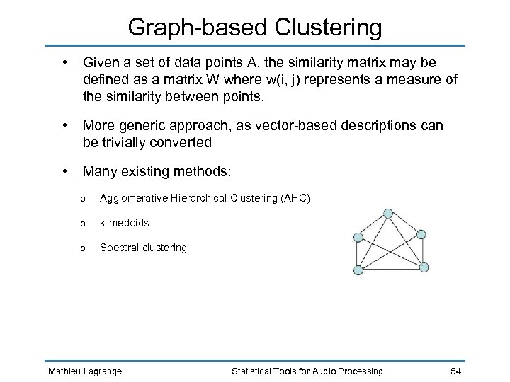 Graph-based Clustering • Given a set of data points A, the similarity matrix may