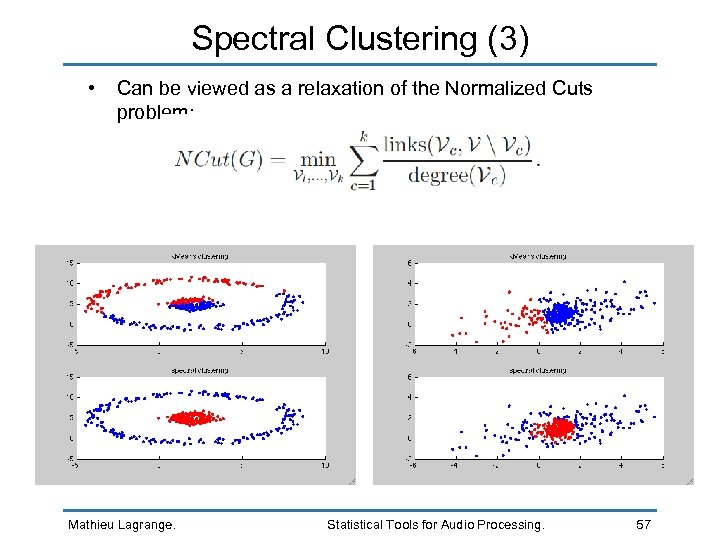Spectral Clustering (3) • Can be viewed as a relaxation of the Normalized Cuts