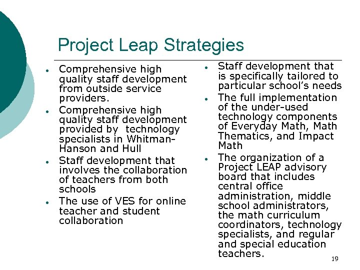 Project Leap Strategies Comprehensive high quality staff development from outside service providers. Comprehensive high