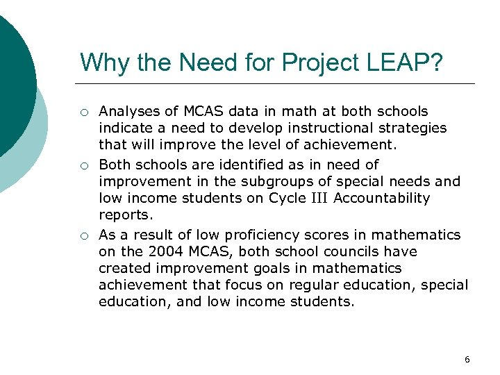 Why the Need for Project LEAP? ¡ ¡ ¡ Analyses of MCAS data in