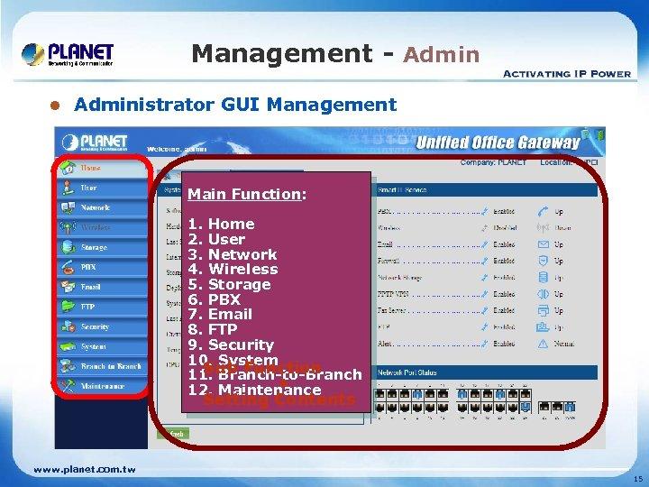 Management - Admin l Administrator GUI Management Main Function: 1. Home 2. User 3.