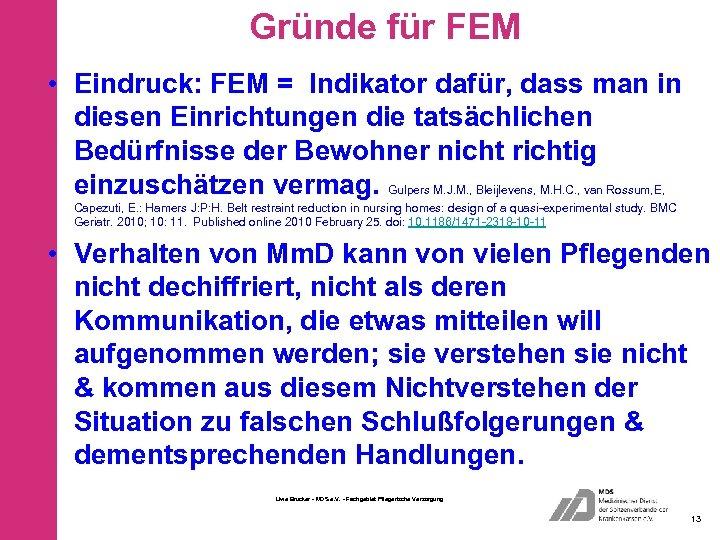 Gründe für FEM • Eindruck: FEM = Indikator dafür, dass man in diesen Einrichtungen