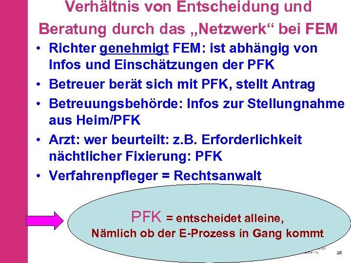 """Verhältnis von Entscheidung und Beratung durch das """"Netzwerk"""" bei FEM • Richter genehmigt FEM:"""