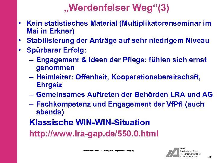 """""""Werdenfelser Weg""""(3) • Kein statistisches Material (Multiplikatorenseminar im Mai in Erkner) • Stabilisierung der"""