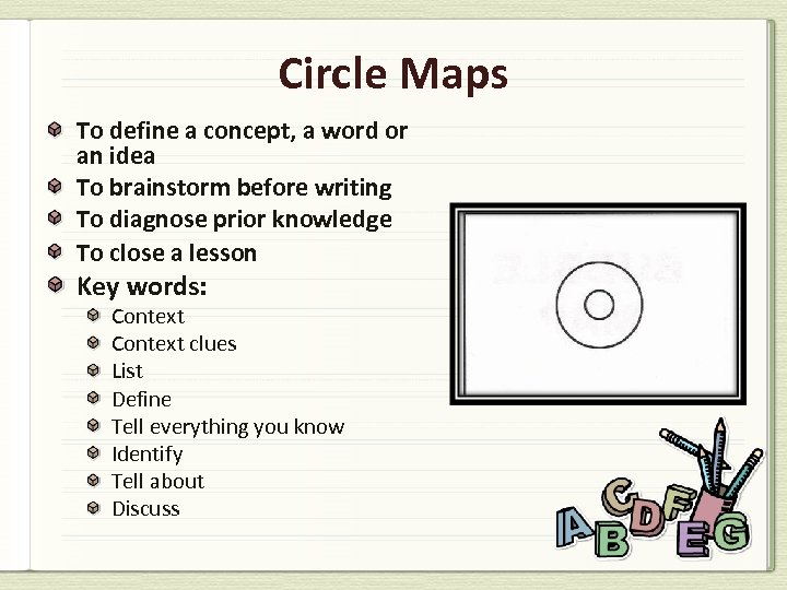 Circle Maps To define a concept, a word or an idea To brainstorm before