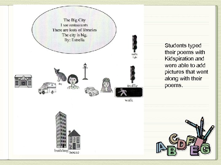 Students typed their poems with Kidspiration and were able to add pictures that went