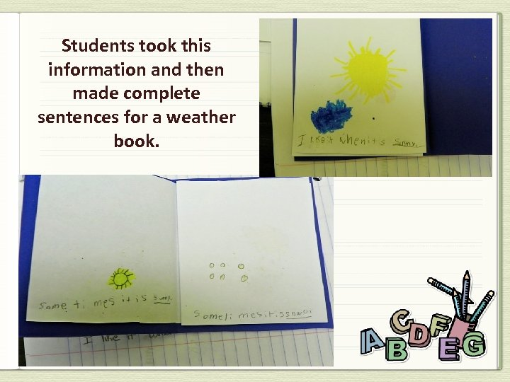 Students took this information and then made complete sentences for a weather book.