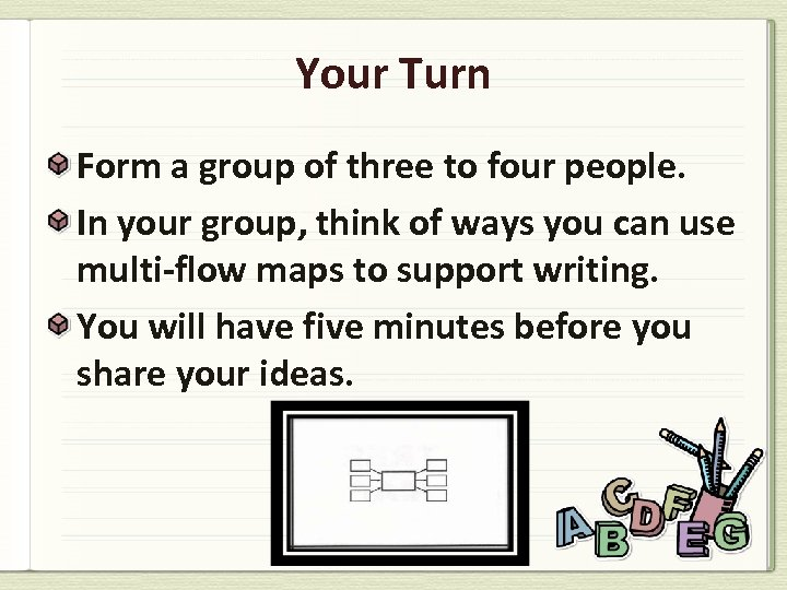 Your Turn Form a group of three to four people. In your group, think