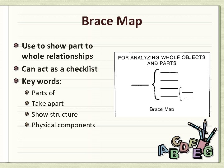 Brace Map Use to show part to whole relationships Can act as a checklist