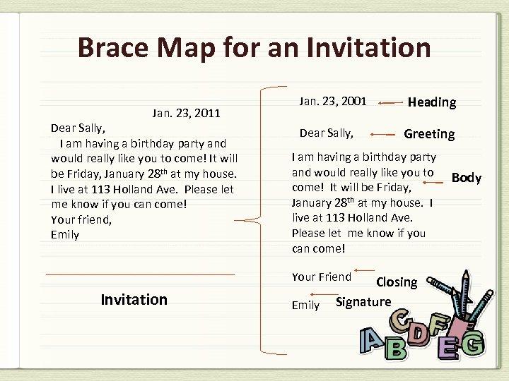 Brace Map for an Invitation Jan. 23, 2011 Dear Sally, I am having a