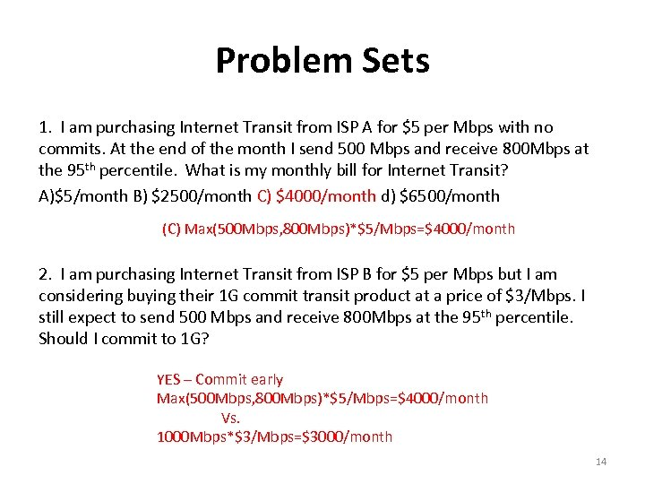 Problem Sets 1. I am purchasing Internet Transit from ISP A for $5 per