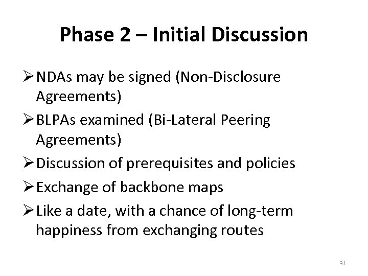 Phase 2 – Initial Discussion NDAs may be signed (Non-Disclosure Agreements) BLPAs examined (Bi-Lateral