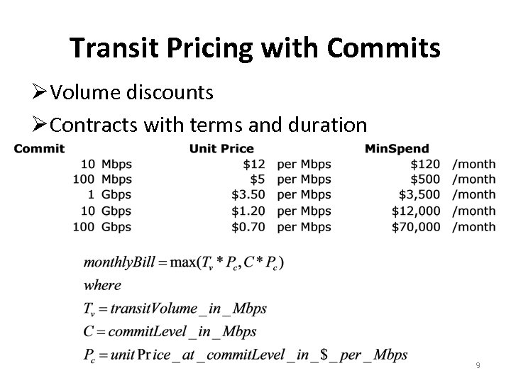 Transit Pricing with Commits Volume discounts Contracts with terms and duration 9