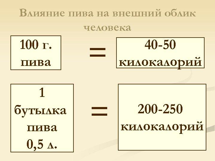 Влияние пива на внешний облик человека 100 г. пива 1 бутылка пива 0, 5