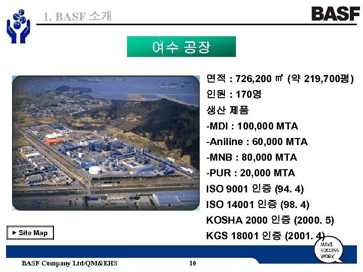 1. BASF 소개 여수 공장 면적 : 726, 200 ㎡ (약 219, 700평) 인원
