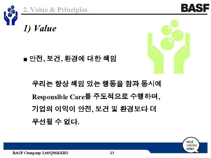 2. Value & Principles 1) Value ■ 안전, 보건, 환경에 대한 책임 우리는 항상