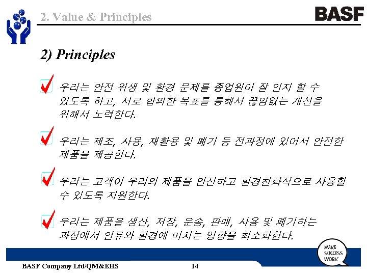 2. Value & Principles 2) Principles 우리는 안전 위생 및 환경 문제를 종업원이 잘