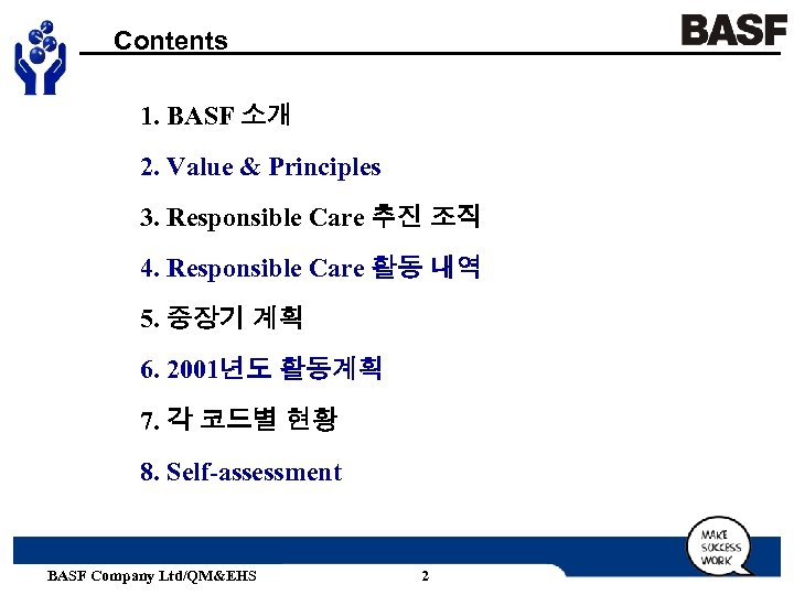 Contents 1. BASF 소개 2. Value & Principles 3. Responsible Care 추진 조직 4.