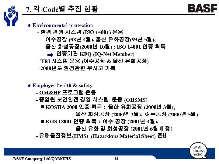 7. 각 Code별 추진 현황 ● Environmental protection - 환경 경영 시스템 (ISO 14001)