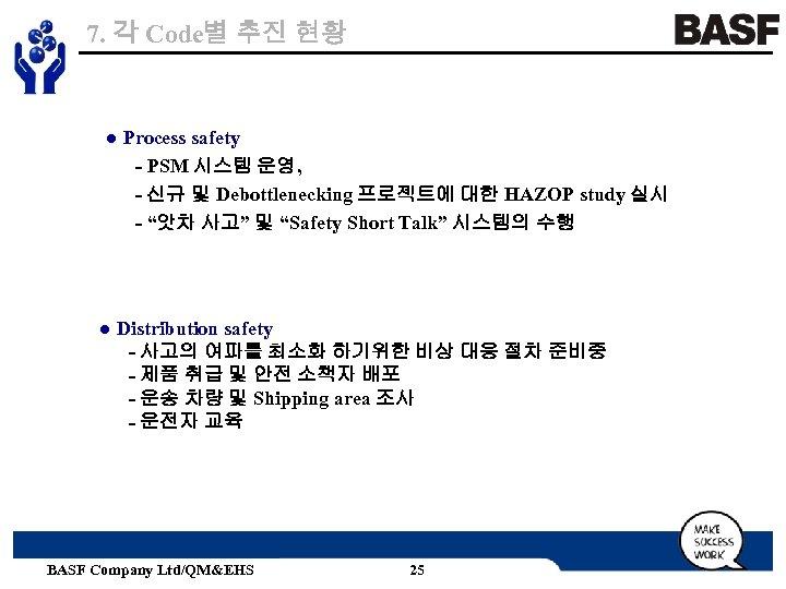 7. 각 Code별 추진 현황 ● Process safety - PSM 시스템 운영, - 신규