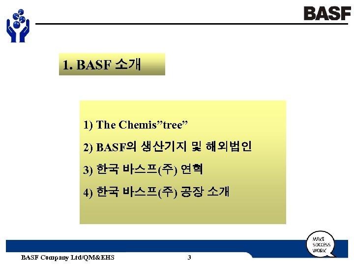 "1. BASF 소개 1) The Chemis""tree"" 2) BASF의 생산기지 및 해외법인 3) 한국 바스프(주)"